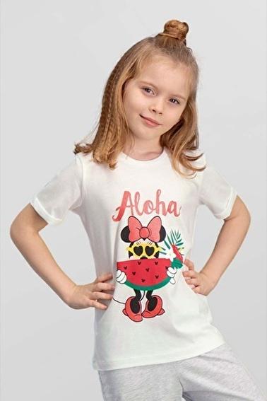 Mickey Mouse Mickey & Minnie Mouse Lisanslı Krem Kız Çocuk T-Shirt Krem